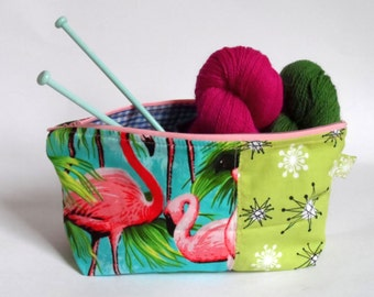 Flamingo and Atomic 50's Print Pouch Case Project Bag