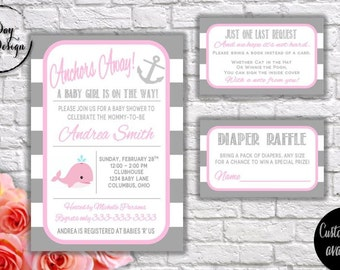 NAUTICAL WHALE (girl) Baby Shower Invitation - Digital