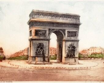 Paris L'Arc de Triomphe, Original Color Etching, Signed,1946