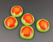 Lime Green Red Orange Glass Cabochons