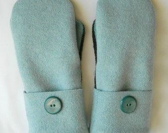 Felted Sweater Mittens - Mint Green/Charcoal Grey - Felted Wool Mittens - Wool Mittens - Womans - Medium