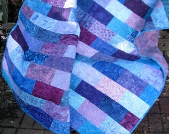 Quilt - Lap Quilt - Sweet Treats Batik Quilt - Batik Lap Quilt - Blue and Purple Quilt - Teal Quilt