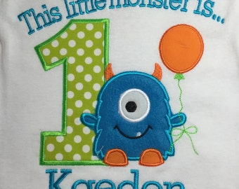Boys little monster first birthday shirt