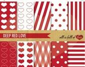80% off Valentines Paper DIGITAL PAPER Pack RED Printable Background Stripes Dots Digital Download Valentines graphics, Valentine day card d