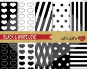 80% off Valentines Digital Paper BLACK and WHITE Backgrounds LOVE Graphics heart spots lines patterns Scrapbook Paper Digital Crafts diy A4