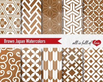 Autumn Digital Paper pack Brown Watercolor Papers Fall Patterns Watercolor Background Japanese Digital Scrapbook Patterns to print