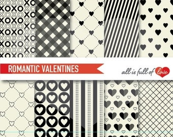 VALENTINES Paper Black WHITE Scrapbooking Patterns Love Backgrounds to Print heart paper pack gingham pattern, valentines day card