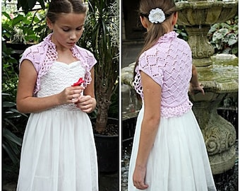 Knitting pattern for girls - Pink roses lace shrug pattern,  1 - 10years  - Listing127