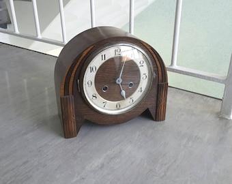 Vintage wooden chiming mantle clock / 1930s 1940s art deco