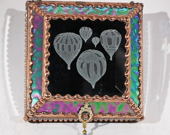 Etched, Hot Air Balloons, Jewelry Box, Souvenir Box, Collection Display Box, Stained Glass, Keepsake, Display