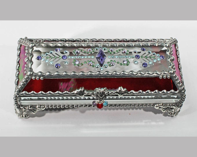 Jewel Encrusted Treasure 3x7 , Jewelry Box, Stained Glass Box, Treasure Box, Trinket Box, Eye Glass Case, Vintage Glass Jewels