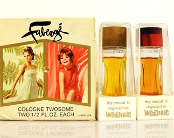 PERFUME Vintage 1960s Woodhue and Flambeau Faberge 1/2 oz Cologne Set DISCONTINUED