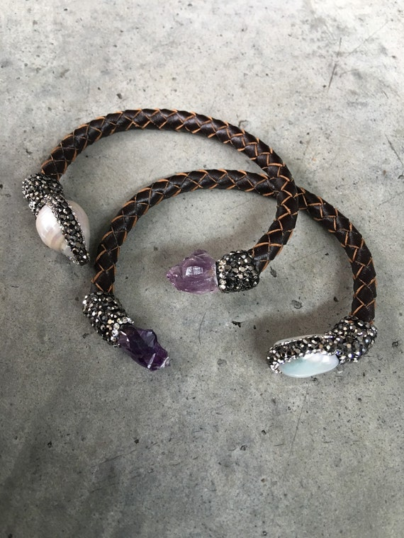 Amethyst and Pearl Leather bracelet boho cuff, Leather jewelry