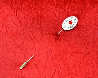 Oval Watch Face Cravat Pin - Stick Pin - Lapel Pin