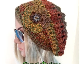 BUY1GET1HALFPrice Womens/teens hand crocheted/knitted oversized slouch beret hat,unique mandala fall winter hat hippie xmas gift designer sa