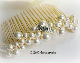 Bridal Pearl White Ivory Gold Hair Comb Wedding Hair Accessories Bridal Headpieces Bridesmaids Hair Comb Bridal Hair Piece Wedding Hair Comb