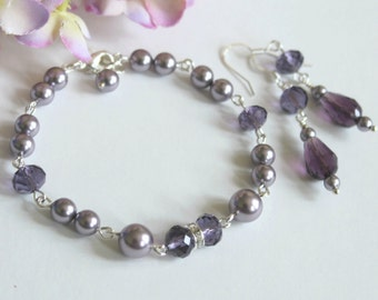 Mauve Purple Pearl Crystals Bracelet Earring Set, Mother of the Bride, Wedding Jewelry, Maid of Honor Gift, Junior Bridesmaid Pearl Bracelet