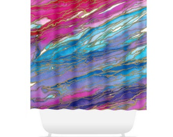 AGATE MAGIC, Pink Red Turquoise Blue Gold, Colorful Ocean Waves Shower Curtain Watercolor Marble Pattern Washable Decor Modern Chic Bathroom