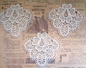 Venice Lace Dollies Appliques, Ivory, x 3, Embellishment For Apparel, Decor, Scrapbooks, Mixed Media, Accessories, Decor
