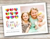 Custom Valentine Photo Card, Postcard,  Valentine's Day, Happy Heart Day, Love, Valentines, Red, Pink, Colorful, Modern
