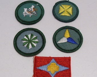 Four Girl Scout Junior Badges and the Sign of the Star Patch Circa 1960's to 1970's Group #4
