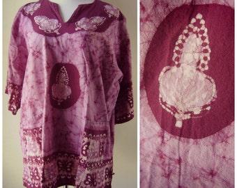 80s Buddha Batik Dashiki Blouse Vintage Hippie Tie Dye Mini Dress Size L/XL Large Violet Pink 1980s Boho Festival Top Perfect for Coachella