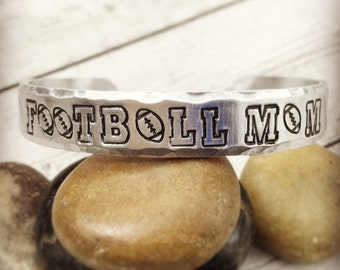 Football Mom Bracelet - Ready to Ship - Football Jewelry - Football Mom Jewelry - Football Mom Gift - Hand Stamped Cuff Bracelet