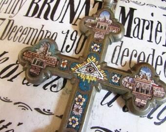 Antique Micro mosaic cross crucifix Italian French evil eye pyramid large religious church unusual ROMA