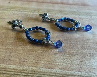 Earrings, Sliver Tone Fleur De Lis Post Ear Wires, Blue Fire polished glass bead, Blue Swarovski Drop Crystal, Free Shipping, USA #95