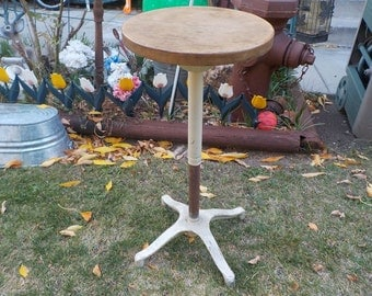Stool, Bar Stool, Kitchen Stool, Work Stool, Ice Cream Stool, Unique One of a Kind, Metal Base Stool Round Wooden spinning Seat  :)SIO