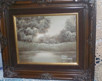 Painting by Jewel Reichert / Lake Water Front with Grass and Trees Just Beautiful # 2 :)NOT INCLUDED In Any Discount or Couon Sales