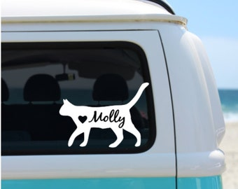 Cat Decal | Personalized Cat | Car Decal | Laptop Decal | Window Decal | Notebook Decal | Cat Silhouette