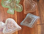 Rare Vintage Set of Four Sandwich Pattern Glass Trays in Card Suits