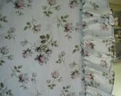 Vintage Bella Notte Pillow Sham,  Light Blue with Pink Rose Sprays, Linen Fabric, Ruffled Edges, MOP Buttons, Euro Size
