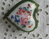 Vintage Ring Box, Porcelain Ring Box, Heart Shaped, Hand Painted, Hinged Lid, Multi-Colored Flowers, Signed