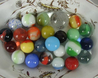 Vintage Marbles, Collectible Marbles, Instant Collection of 25 Marbles, Mid-Century Marbles, Children's Toy