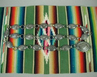 """Vintage Southwest Style Concho Belt, Stamped Design, Signed, """"Sanford""""- Mid-Century"""