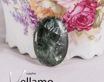 Natural green seraphinite cabochon, untreatead rare gemstone, 20mm X 30mm, oval rare designer cabochon, green stone, jewellery supplies