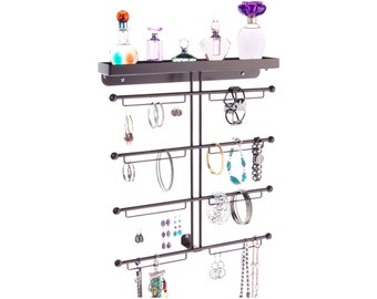 Large Wall Mount Bracelet & Earring Holder Storage Rack Display - Angelynn's Carol Jewelry Organizer (Rubbed Bronze)