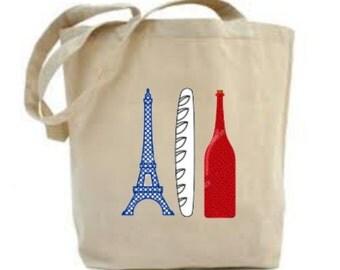 France Tote Bag, France Gift, French Gift, French Flag Cloth Bag, Eiffel Tower Market Bag, Red Wine Design, Baguette Design. France Lover