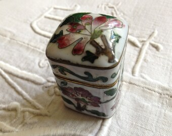 Cloisonne Enamel Trinket Box Floral Design White Pink Flower Green