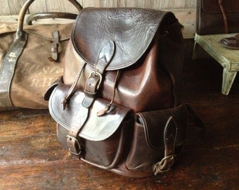 Big Brown Leather Backpack Rucksack Chestnut Brown Leather