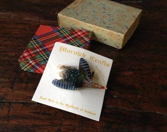 Vintage Genuine Scottish Plume Feathered Bird Brooch Scarf Pin ~ Handmade in Highlands of Scotland