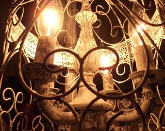 Chandelier floor Lamp ,vintage chandelier bird cage chandelier  light  shabby chic chandelier, chippy,NOSTALGIC , French country,