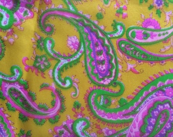 Super Sweet 60s Mod Sheer Paisley Vintage Fabric Canary Yellow Hot Pink Lime Green Home Decor Curtain Drapery By the Yard Cute Bright Fun