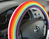 Knit Rainbow Steering Wheel Cover, Wheel Cozy - soft white/ 7 rainbow colors (KRSWC 1A)