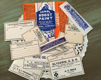 Pharmacy Labels / 12 Vintage Drug Store Labels Assorted Sizes for Altered Arts, Mixed Media