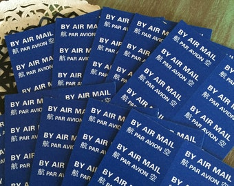 Air Mail Labels 40 / Airmail Par Avion Royal Mail Labels for Altered Art, Mixed Media, Journals, Scrapbooks
