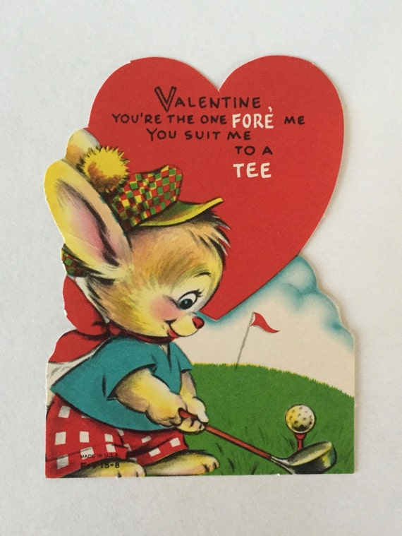 Vintage Valentine / Bunny Playing Golf Valentine 1930u0027s 1940u0027s Unused  Unsigned Valentine Vintage Valentine Die Cut Bunny Playing Golf  1930u0027s 1940u0027s Measures ...