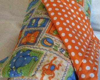 "42""x33"" Noah's  Ark  100 percent baby quilt blue green and orange"